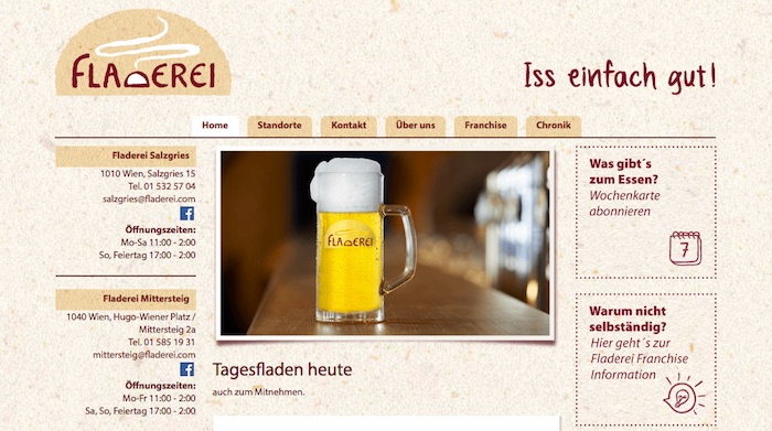 Screenshot Bier Webseite Fladerei