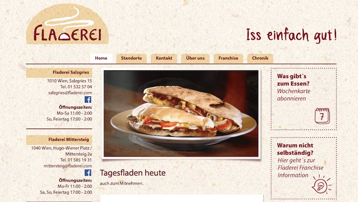 Screenshot Webseite Fladenbrot Fladerei
